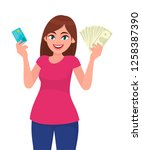 attractive young woman holding...   Shutterstock .eps vector #1258387390