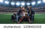 group of fans are watching a... | Shutterstock . vector #1258402333