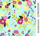 trendy colorful seamless floral ...   Shutterstock .eps vector #1258420330