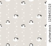Stock vector seamless pattern of cute cartoon penguin cloud and star design on light grey background 1258431523