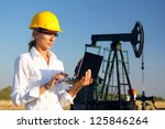 female engineer in an oilfield... | Shutterstock . vector #125846264