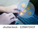 closeup photo of a woman's hand ... | Shutterstock . vector #1258472419