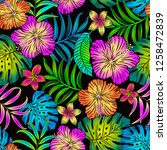 tropical floral editable vector ... | Shutterstock .eps vector #1258472839