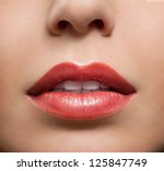 close up of red glossy female... | Shutterstock . vector #125847749