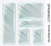 transparent glass banners. 3d... | Shutterstock .eps vector #1258480660