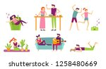 people recreation at home.... | Shutterstock .eps vector #1258480669