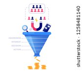 funnel sales concept. marketing ... | Shutterstock .eps vector #1258481140