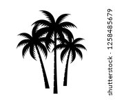 palm tree silhouette vector... | Shutterstock .eps vector #1258485679