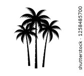 palm tree silhouette vector... | Shutterstock .eps vector #1258485700