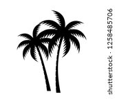 palm tree silhouette vector... | Shutterstock .eps vector #1258485706