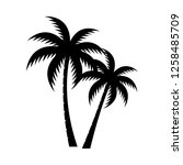 palm tree silhouette vector... | Shutterstock .eps vector #1258485709