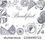 breakfast hand drawing vector... | Shutterstock .eps vector #1258498723