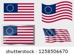 flag of the us 13 stars  | Shutterstock .eps vector #1258506670