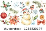winter watercolor christmas set ... | Shutterstock . vector #1258520179