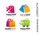 shopping store logo design...   Shutterstock .eps vector #1258526776