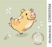new year symbol pig dancing.... | Shutterstock .eps vector #1258535506