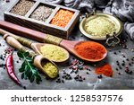 spices and seasonings on the... | Shutterstock . vector #1258537576
