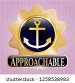 gold emblem with anchor icon... | Shutterstock .eps vector #1258538983