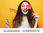 playful young woman ready for... | Shutterstock . vector #1258543576