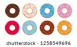 colorful set of donuts with... | Shutterstock .eps vector #1258549696
