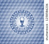 map pointer icon inside blue... | Shutterstock .eps vector #1258586236