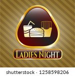 gold emblem with fast food... | Shutterstock .eps vector #1258598206