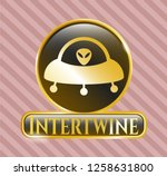 gold badge or emblem with ufo... | Shutterstock .eps vector #1258631800