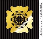 alarm clock icon inside golden...   Shutterstock .eps vector #1258632046