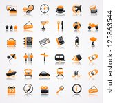 travel orange icons with...