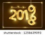 brown happy new year 2019... | Shutterstock .eps vector #1258639093