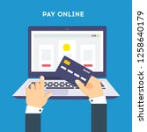 pay online concept on modern... | Shutterstock .eps vector #1258640179