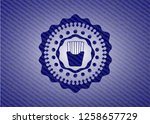 fries icon inside badge with...   Shutterstock .eps vector #1258657729
