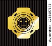 serious face icon inside golden ...   Shutterstock .eps vector #1258657873