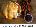 grilled plant based burger... | Shutterstock . vector #1258663489