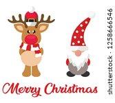 cartoon winter christmas deer... | Shutterstock .eps vector #1258666546
