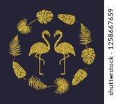golden glitter flamingo. vector | Shutterstock .eps vector #1258667659