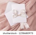 wedding invitation mockup with...   Shutterstock . vector #1258680973