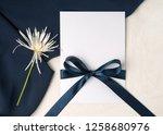 navy blue wedding invitation...   Shutterstock . vector #1258680976