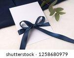 navy blue wedding invitation... | Shutterstock . vector #1258680979