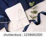 navy blue wedding invitation...   Shutterstock . vector #1258681000