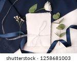 navy blue wedding invitation...   Shutterstock . vector #1258681003