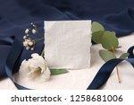 navy blue wedding invitation...   Shutterstock . vector #1258681006