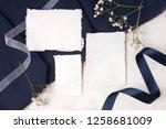 navy blue wedding invitation...   Shutterstock . vector #1258681009