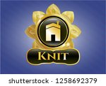 golden badge with house icon...   Shutterstock .eps vector #1258692379