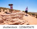 people hike to horseshoe bend...   Shutterstock . vector #1258695670