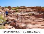 people hike to horseshoe bend... | Shutterstock . vector #1258695673