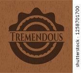 tremendous badge with wood...   Shutterstock .eps vector #1258701700