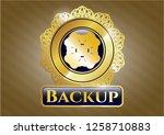 golden badge with four leaf...   Shutterstock .eps vector #1258710883