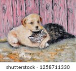 Stock photo oil painting on canvas friendship of kitten and puppy hand drawn love of little fluffy kitten and 1258711330