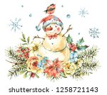 winter watercolor christmas... | Shutterstock . vector #1258721143